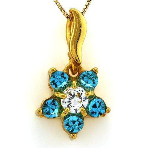 18K Yellow Gold-Plated Flower Shape Aquamarine Color Stone German Silver Pendant - Wholesalekings.com