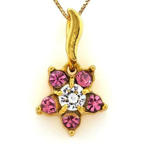 18K Yellow Gold-Plated Flower Shape Pink Color Stone German Silver Pendant Charm - Wholesalekings.com