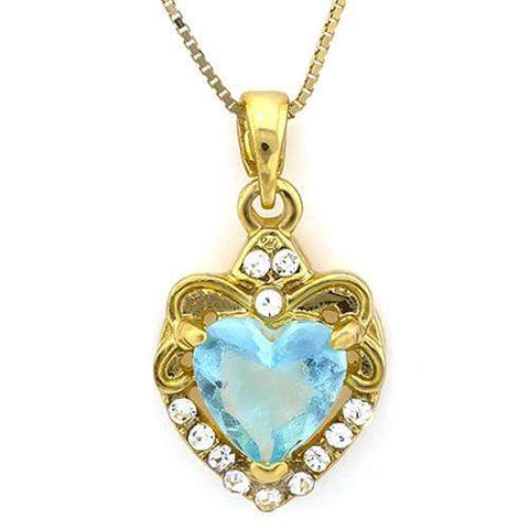 18K Yellow Gold-Plated Heart Cut Created Aquamarine Stone German Silver Pendant - Wholesalekings.com