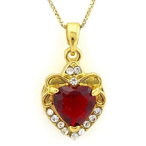 18K Yellow Gold-Plated Heart Cut Red Color Stone German Silver Pendant Charm - Wholesalekings.com