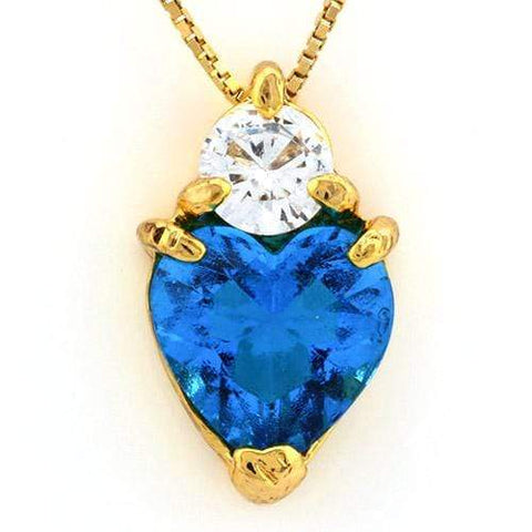 18K Yellow Gold-Plated Solitaire Heart Shape Created Aquamarine Stone German Silver Pendant Charm - Wholesalekings.com