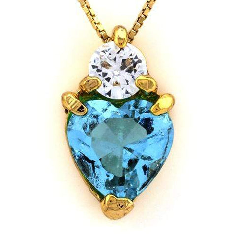 18K Yellow Gold-Plated Solitaire Heart Shape Light Blue Stone German Silver Pend - Wholesalekings.com