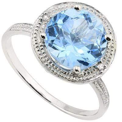 2.09 CT BLUE TOPAZ & 2 PCS WHITE DIAMOND PLATINUM OVER 0.925 STERLING SILVER RING wholesalekings wholesale silver jewelry