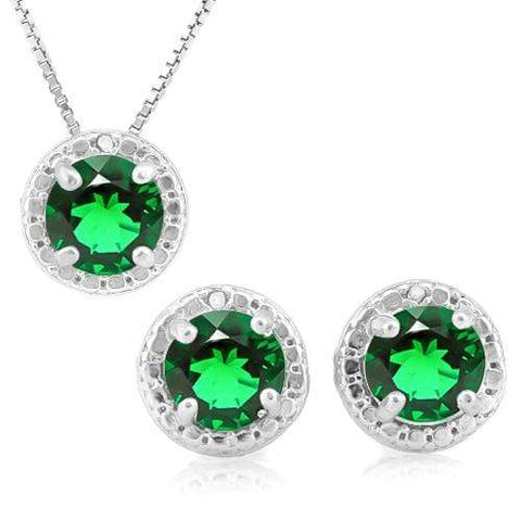 2 1/4 CARAT RUSSIAN EMERALD & DIAMOND 925 STERLING SILVER JEWELRY SET wholesalekings wholesale silver jewelry