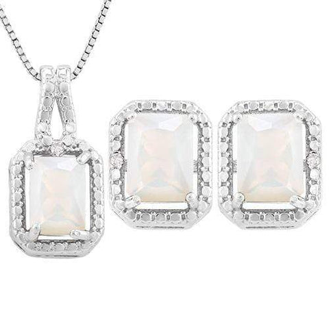 2 2/5 CARAT CREATED FIRE OPAL & DIAMOND 925 STERLING SILVER JEWELRY SET - Wholesalekings.com