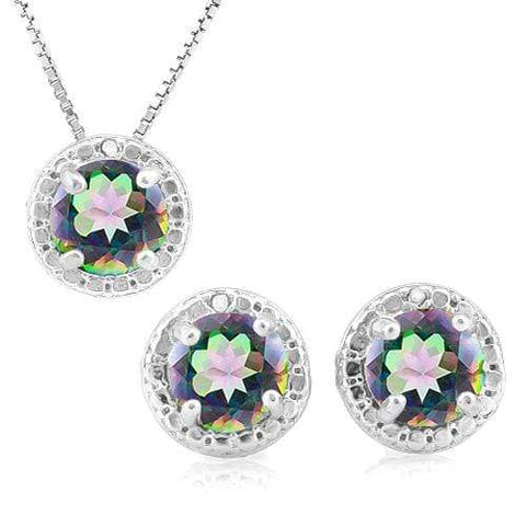 2 2/5 CARAT MYSTIC GEMSTONE & DIAMOND 925 STERLING SILVER JEWELRY SET - Wholesalekings.com