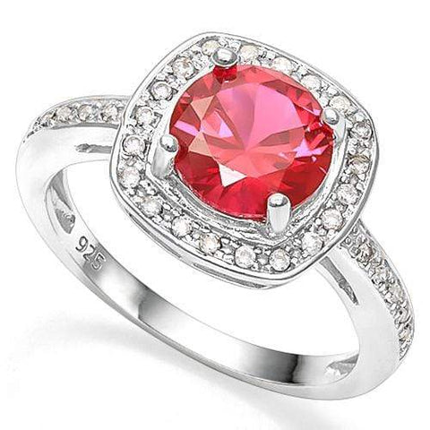 2 2/5 CT CREATED RUBY &   CREATED WHITE SAPPHIRE 925 STERLING SILVER RING wholesalekings wholesale silver jewelry