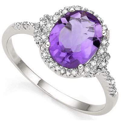 2 3/5 CT AMETHYST & DIAMOND 925 STERLING SILVER RING - Wholesalekings.com