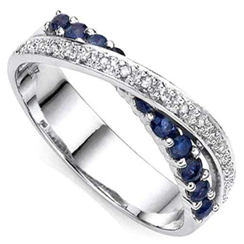 2/3 CT GENUINE SAPPHIRE & DIAMOND 925 STERLING SILVER BAND RING - Wholesalekings.com