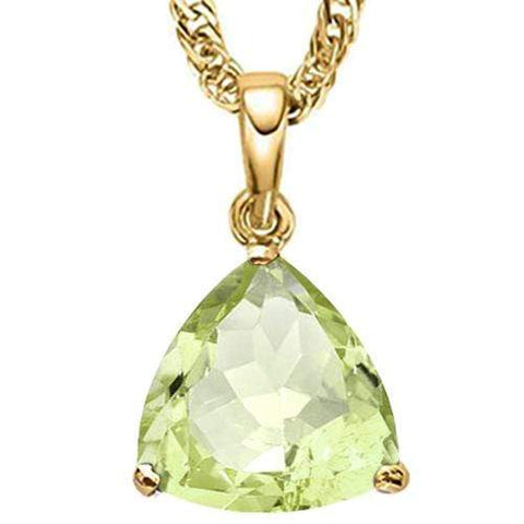 2/3 CT GREEN AMETHYST 10KT SOLID GOLD PENDANT - Wholesalekings.com