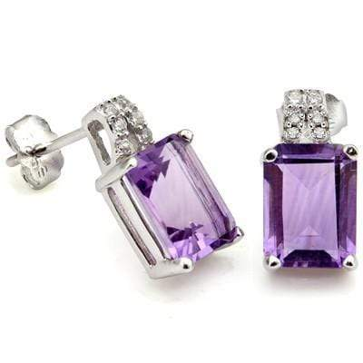 2 4/5 CARAT AMETHYST & CREATED DIAMOND 925 STERLING SILVER EARRINGS - Wholesalekings.com