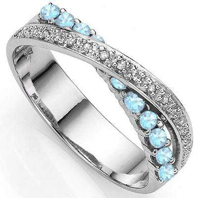 2/5 CT BABY SWISS BLUE TOPAZ & DIAMOND 925 STERLING SILVER BAND RING - Wholesalekings.com