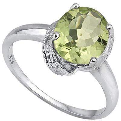2.536 CARAT TW GREEN AMETHYST & GENUINE DIAMOND PLATINUM OVER 0.925 STERLING SILVER RING - Wholesalekings.com