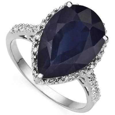 2.6 CARAT TW GENUINE BLACK SAPPHIRE & GENUINE DIAMOND PLATINUM OVER 0.925 STERLING SILVER RING - Wholesalekings.com