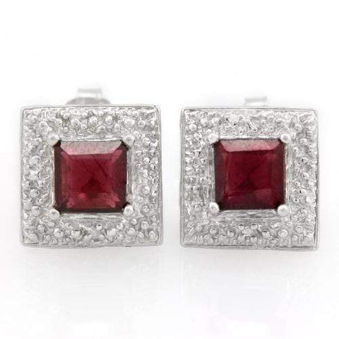 2 CARAT GARNET   925 STERLING SILVER EARRINGS - Wholesalekings.com