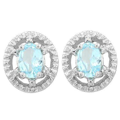 2 COLORS BABY SWISS BLUE TOPAZ, GARNET 925 STERLING SILVER EARRINGS - Wholesalekings.com