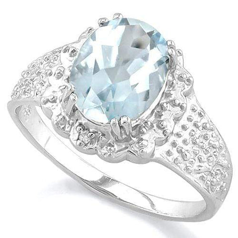 2 CT AQUAMARINE & DIAMOND 925 STERLING SILVER RING wholesalekings wholesale silver jewelry