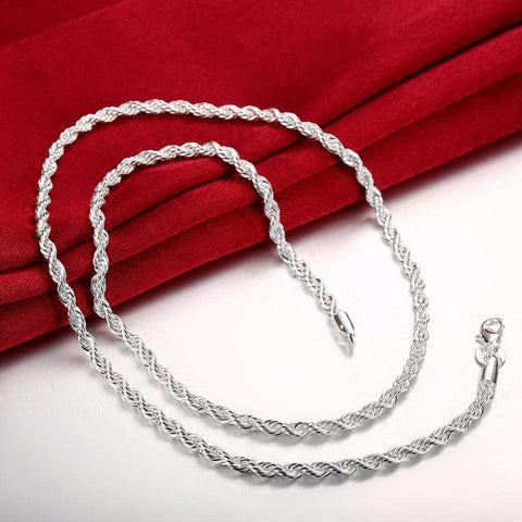 "20"" Silver plated Italian Necklace Chain - Wholesalekings.com"