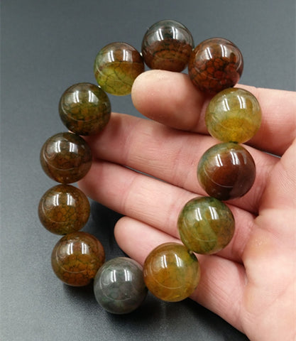 18MM Fire Agate Bead on Elastic String Bracelet for Men or Women