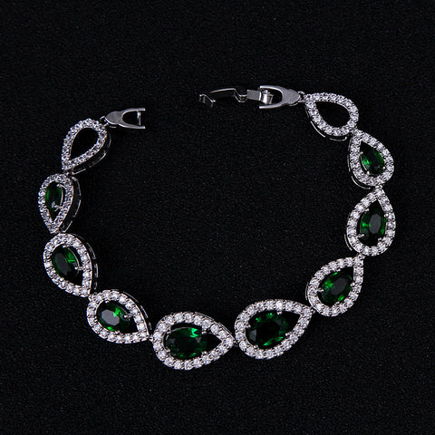 CREATED PEAR SHAPE EMERALD TOPAZ 18K GOLD PLATED GERMAN SILVER BRACELET