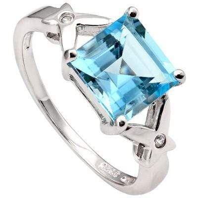 3.07 CT BLUE TOPAZ & 2 PCS CREATED WHITE SAPPHIRE  0.925 STERLING SILVER W/ PLATINUM RING wholesalekings wholesale silver jewelry