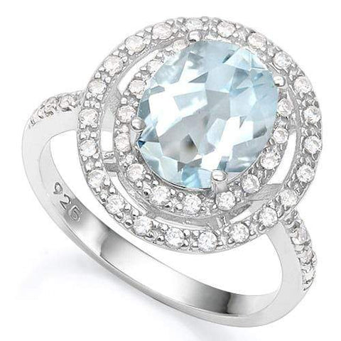 3 1/5 CT AQUAMARINE & 1/5 CT CREATED WHITE SAPPHIRE 925 STERLING SILVER RING wholesalekings wholesale silver jewelry