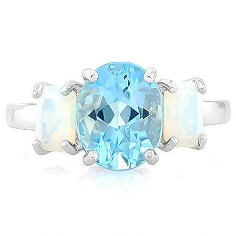 3 1/5 CT BABY SWISS BLUE TOPAZ & 1 1/5 CT CREATED FIRE OPAL 925 STERLING SILVER - Wholesalekings.com