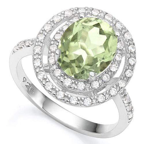 3 1/5 CT GREEN AMETHYST & 1/5 CT CREATED WHITE SAPPHIRE 925 STERLING SILVER RING - Wholesalekings.com