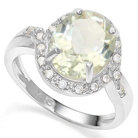 3 1/5 CT GREEN AMETHYST & CREATED WHITE SAPPHIRE 925 STERLING SILVER RING - Wholesalekings.com