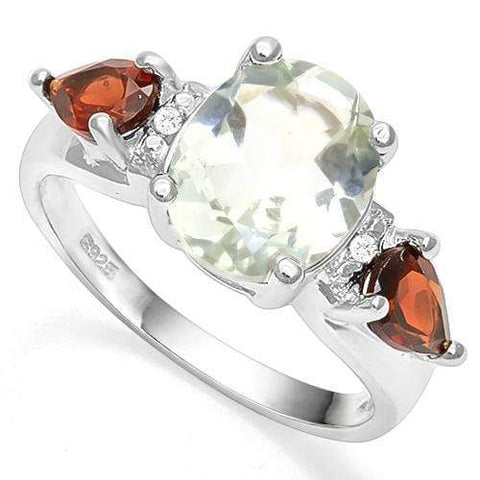3.20 CT GREEN AMETHYST & 2PCS GARNET 925 STERLING SILVER RING - Wholesalekings.com