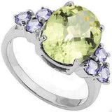 3.26 CT GREEN AMETHYST & 1/4 CT TANZANITE 925 STERLING SILVER RING - Wholesalekings.com