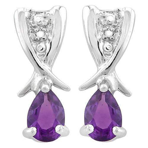 3/4 CARAT AMETHYST   925 STERLING SILVER EARRINGS - Wholesalekings.com