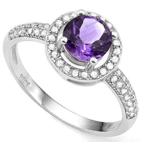 3/4 CT AMETHYST & 2/5 CT CREATED WHITE SAPPHIRE 925 STERLING SILVER RING wholesalekings wholesale silver jewelry