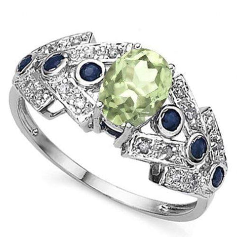 3/4 CT GREEN AMETHYST & 1/3 CT TANZANITE 925 STERLING SILVER RING - Wholesalekings.com