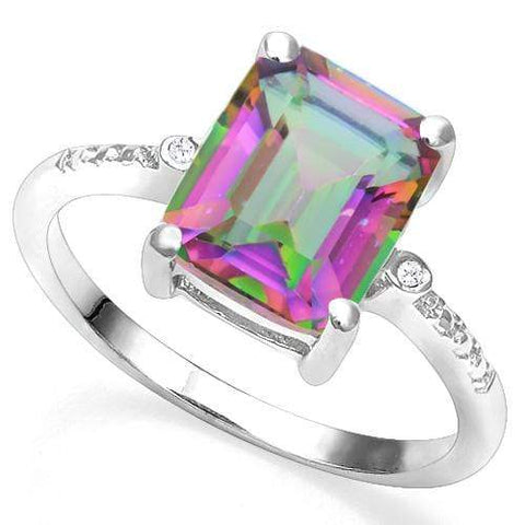 3.82 CT MYSTIC GEMSTONE & DIAMOND 925 STERLING SILVER COCKTAIL RING - Wholesalekings.com
