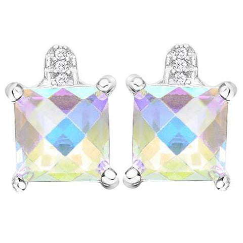 3 CARAT MERCURY MYSTIC TOPAZ   925 STERLING SILVER EARRINGS wholesalekings wholesale silver jewelry