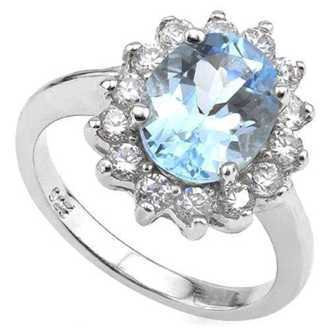 3 CT BABY SWISS BLUE TOPAZ & 1/2 CT CREATED WHITE SAPPHIRE 925 STERLING SILVER RING wholesalekings wholesale silver jewelry