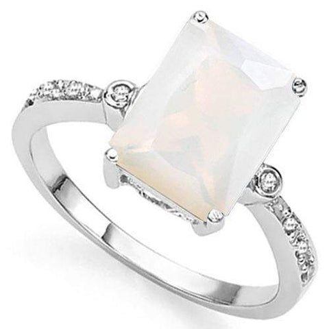 3 CT CREATED FIRE OPAL & DIAMOND 925 STERLING SILVER RING - Wholesalekings.com