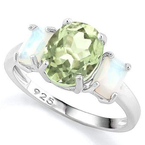 3 CT GREEN AMETHYST & 1 1/5 CT CREATED FIRE OPAL 925 STERLING SILVER RING - Wholesalekings.com