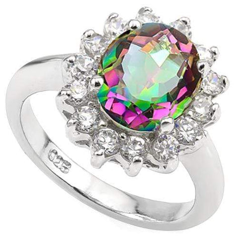 3 CT MYSTIC GEMSTONE & 1/2 CT CREATED WHITE SAPPHIRE 925 STERLING SILVER RING wholesalekings wholesale silver jewelry