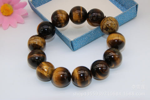 18MM Tiger Eye Bead on Elastic String Bracelet for Men or Women