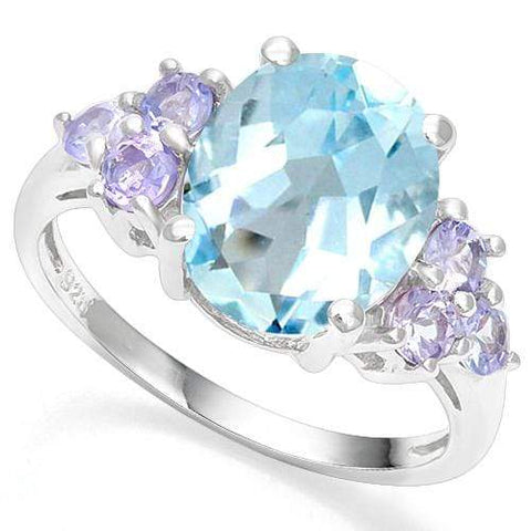4.06 CT BABY SWISS BLUE TOPAZ & 2/3 CT TANZANITE 925 STERLING SILVER COCKTAIL RING - Wholesalekings.com