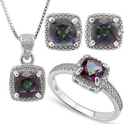 4 1/2 CARAT MYSTIC GEMSTONE & DIAMOND 925 STERLING SILVER SET - Wholesalekings.com