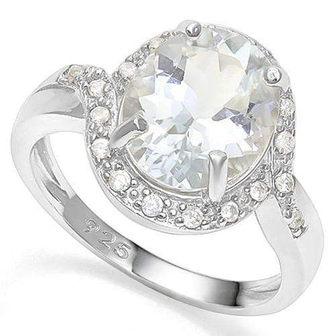 4 1/2 CT AQUAMARINE &   CREATED WHITE SAPPHIRE 925 STERLING SILVER RING wholesalekings wholesale silver jewelry