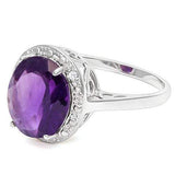 4.32 CT AMETHYST & DIAMOND 925 STERLING SILVER RING - Wholesalekings.com