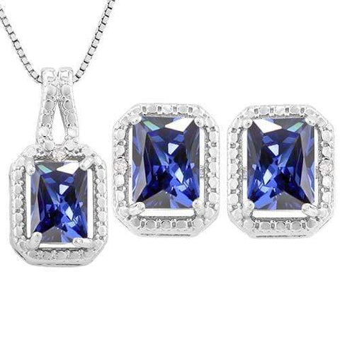 4 4/5 CARAT LAB TANZANITE & DIAMOND 925 STERLING SILVER JEWELRY SET - Wholesalekings.com