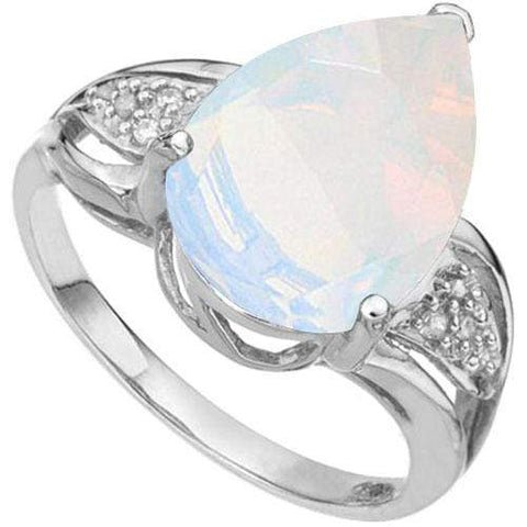 4.49 CT CREATED ETHIOPIAN OPAL & DIAMOND 925 STERLING SILVER RING - Wholesalekings.com