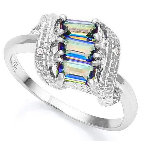 3/4 CT OCEAN MYSTIC GEMSTONE & DIAMOND 925 STERLING SILVER RING - Wholesalekings.com
