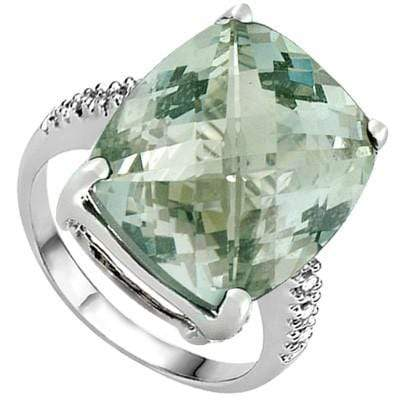 4.68 CARAT TW GREEN AMETHYST & GENUINE DIAMOND PLATINUM OVER 0.925 STERLING SILVER RING - Wholesalekings.com
