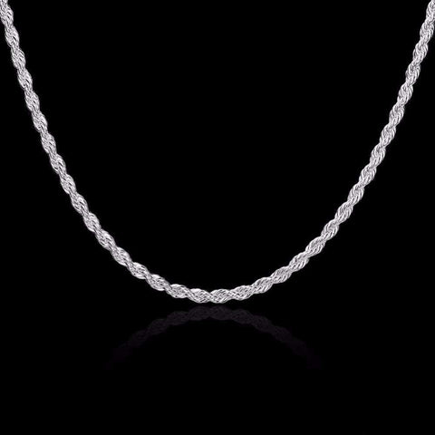 4mm 20 inches silver plated Italian Necklace Chain - Wholesalekings.com